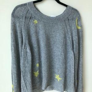 Wildfox Cashmere Grey Star Soft Trendy Sweater